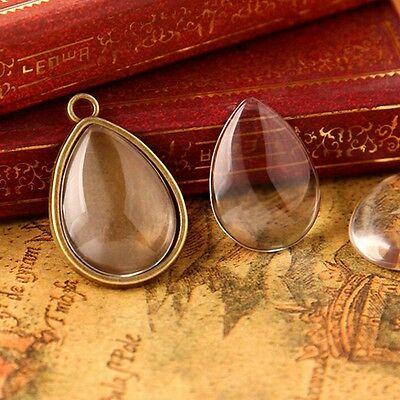New 10Pcs Flatback Dome Clear Glass Cabochon Water Drop Pendants Charm DIY