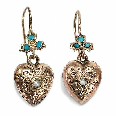Um 1890: Antike Ohrringe aus Gold, Türkis & Perlen, Herz Herzen / Heart Earrings