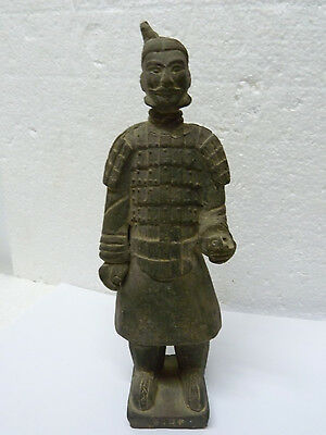 Antique Marked Chinese Terracotta Statue of Old Chinese Soldier, H 21.2 cm