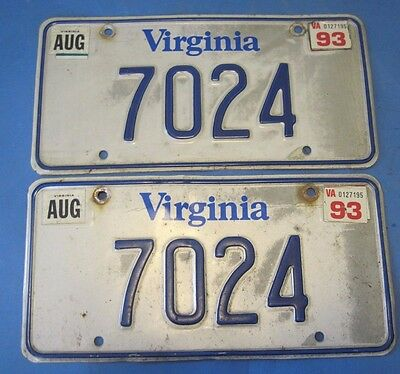 1993 Virginia License Plates - Matched Pair Low 4 digit number