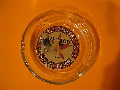 Texaco Petroleum Products  Pin Up Girl ~ Glass Ashtray  Vargas Pinup Oil Gas