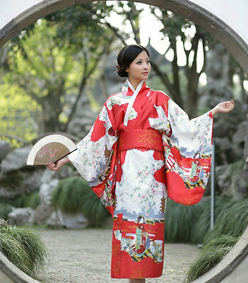 Japanese Kimono Vintage Yukata Haori Costume Retro Geisha Dress Obi Cosplay Red