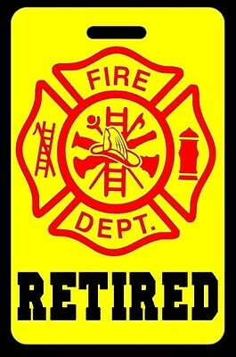 Safety Yellow RETIRED Firefighter Luggage/Gear Bag Tag - FREE Personalization