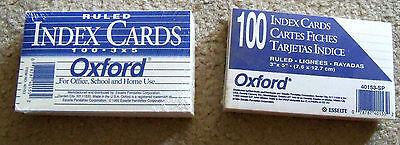 "OXFORD 40153 - White Index Note Cards - Ruled - 3 x 5"" - 100 Cards - 2 Packs"