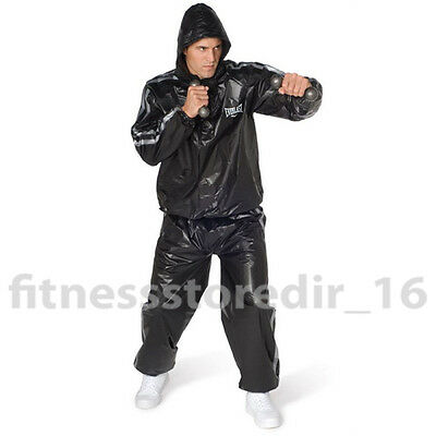 Everlast Black Super Sweat Hooded Sauna Suit - Training - Boxing - SIZE : MD/LG