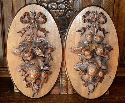 Antique Black Forest Pair of Carved Wood Wall Plaques Swags of Fruit Bow