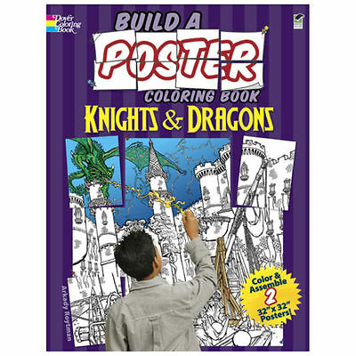 "l Dover Build A Poster Color Book Knight/Dragon Two 32"" x 32"" Posters!!"