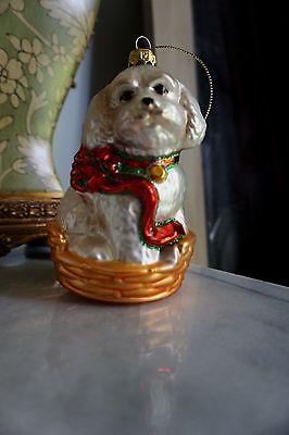Hand Blown Glass Bichon Frise Puppy in Doggie Bed Christmas Ornament NWOT