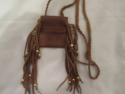 Handmade Fringed Brown Leather Neck Pouch Bag Purse Braided Strap Brass Beads