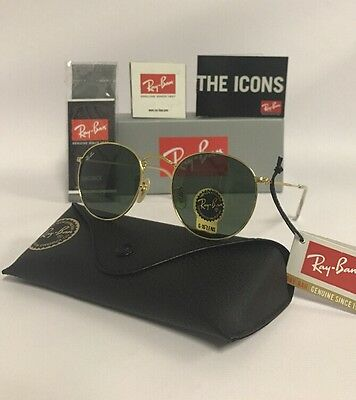 Ray-Ban Sunglasses RB3447 001 50-21 Round Metal Gold Frame Green G-15 Lenses