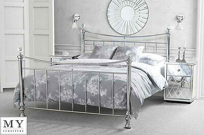 6ft Super King size  Metal bed Chrome Plated with Crystal finials  - Waterford