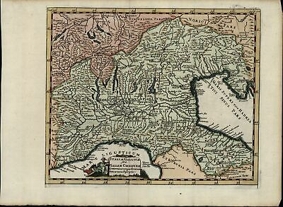 Northern Italy Lombardy Genoa Switzerland France nice c.1711 old antique map