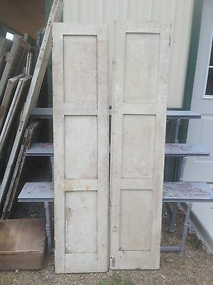 Vtg Pair 1800's Old  Wooden Window Shutters Architectural Salvage Screen 71 x16