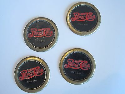 Lot of 4 vintage solid brass Pepsi Cola coasters