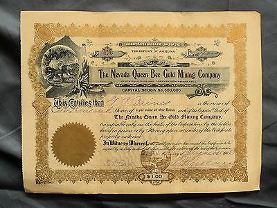 1905 Stock Certificate THE NEVADA QUEEN BEE GOLD MINING COMPANY Arizona