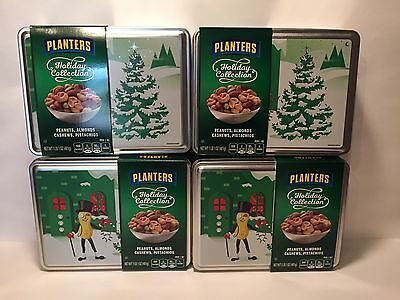 4 Holiday Collection Planters Peanuts Tin Mr Peanut Logo 2016  Exp5/17 With Nuts
