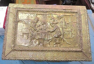 Antique RobinHood embossed brass coal/wood shuttle/Fireplace container/box