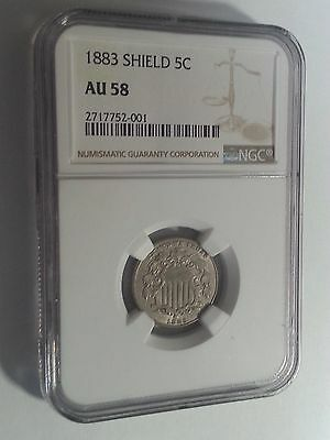 1883 Shield Nickel ~ Ngc Au 58 ~Nice With Great Eye Appeal ~Final Year Of Issue!