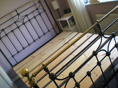 Original Restored Cast Iron and Brass Double Bed Frame - Possibly Victorian
