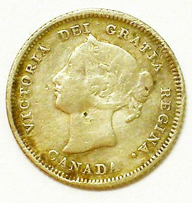 1880 H 5C Canada Five Cent Silver Coin