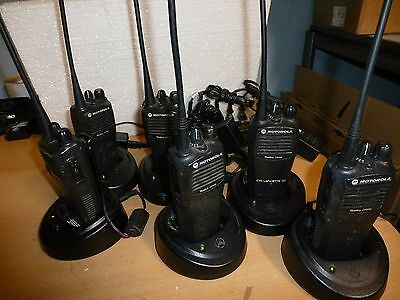 6 Motorola CP200 4-Channel UHF  Two-Way Radios & 6 Rapid Chargers