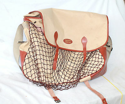 "20""x16"" Shakewspeare largeSalmon fishermans canvas shoulder bag leather"