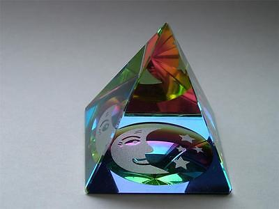 MOON and STARS in a PYRAMID COLOURED CUT GLASS CRYSTAL ORNAMENT