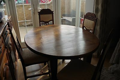 Antique Edwardian OVAL Oak  table and 4 Edwardian dining chairs