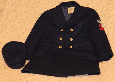 Liliputian Best & Co. Vintage Toddler Double Breasted Pea Coat and Cap Navy Blue