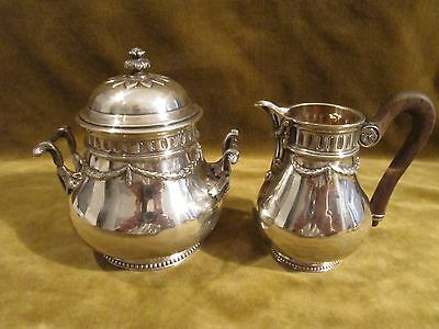 20th c french sterling silver sugar bowl & creamer for 2 Louis XVI st Tetard