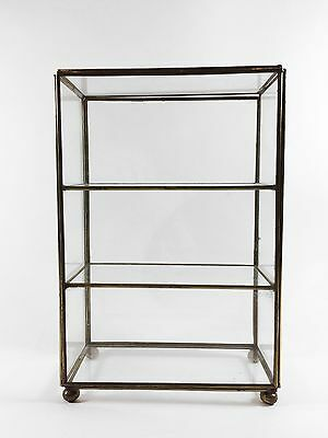 Vintage ​Miniature Glass Shelf Tabletop Display Curio Footed Cabinet