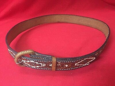 Native American Hand Tooled Belt All Leather Very Colorful Size 38