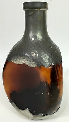 Royal Holland Pewter Amber Whiskey Pinch Bottle Silver Tone Liquor Decanter