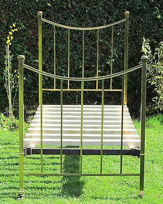 Brass and Iron Standard Single Bed with Pine Slat Base
