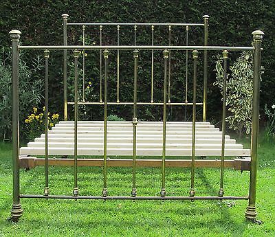 Victorian Brass with Iron Standard Double Bed with Pine Base