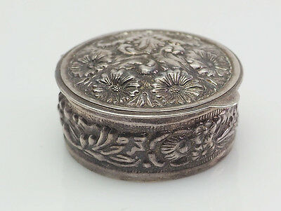 Antique floral motif sterling silver pill box