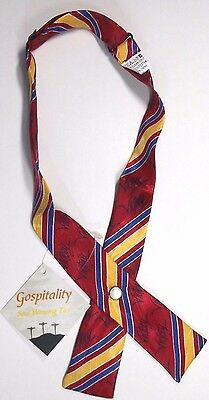 "Gospitality Ladies Snap Bow Tie 3.5"" X 1.5"" Multi- Color Stripes NWT"