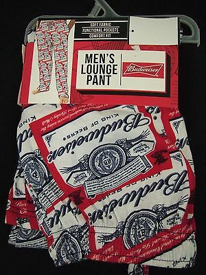 New with tags Men's Budweiser Bud Beer Bottle Can Sleep Lounge Pajamas Pants