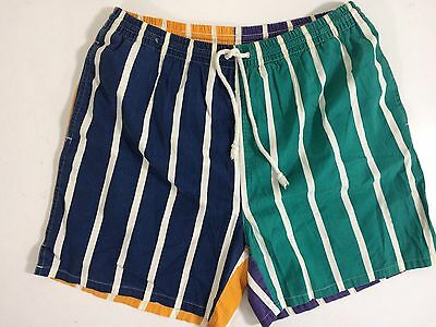 Vtg 80-90's Ivy Club Men COLOR BLOCK Stripe SAILING Shorts SURF Board TRUNKS M