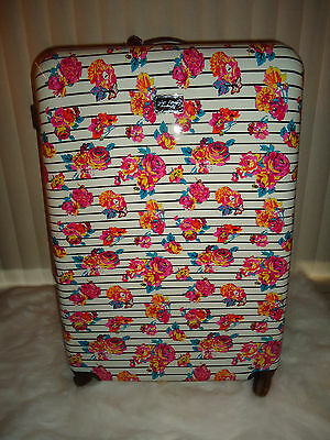 Betsey Johnson Xl 32 In Rose Stripe Floral Hardside Spinner Luggage Suitcase Nwt
