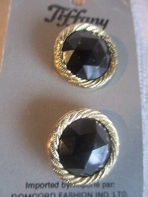 Two Vintage Tiffany Silver Rimmed Black Buttons 22 mm