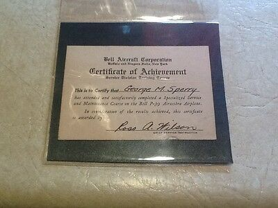 One Of A Kind Bell Aircraft Corp. Certificate Of Achievement P-38 Fighter Plane