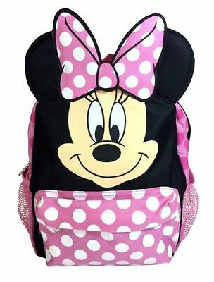 """New Disney Minnie Mouse 3D Ears Happy Face 12"""" Backpack"""