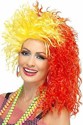 Smiffy's 80's Fun Girl Crimp Wig with Yellow Flash - Red
