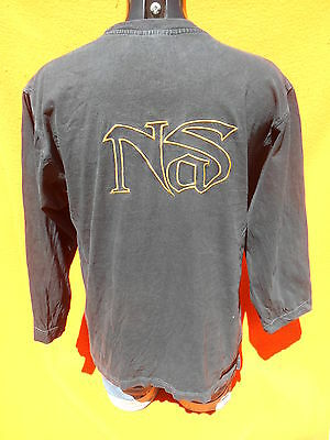 NAS T Shirt Long Sleeves Manches Longues True Vintage Embroidered Logo Hip Hop