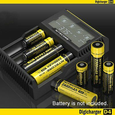 Nitecore D4 LCD Intelligent Battery Charger For Li-ion 26650 18650 Ni-MH&Ni-Cd