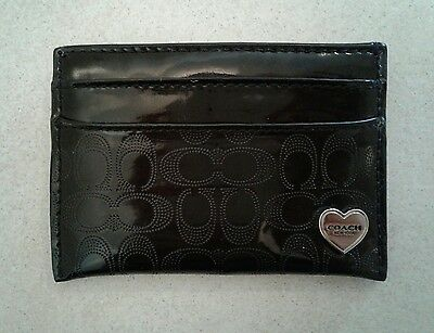 Coach Classic Black Patent Leather Embossed Gloss Signature Credit Card Case