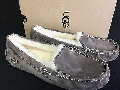 UGG Ansley Chocolate Brown Suede Moccasin Slippers Slip On Shoes 10 Women 3312