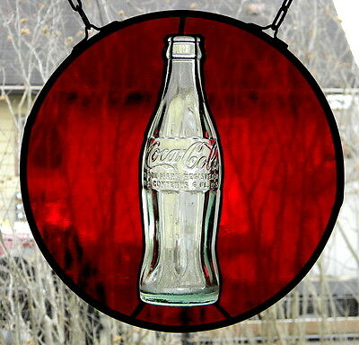 Stained glass with Vintage Coca- Cola bottle