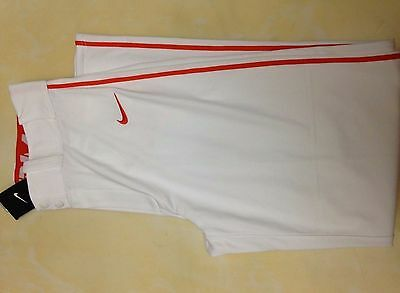 Nike Swingman Piped Open Hem Baseball Softball Pants 615280-121 White/orange S-M